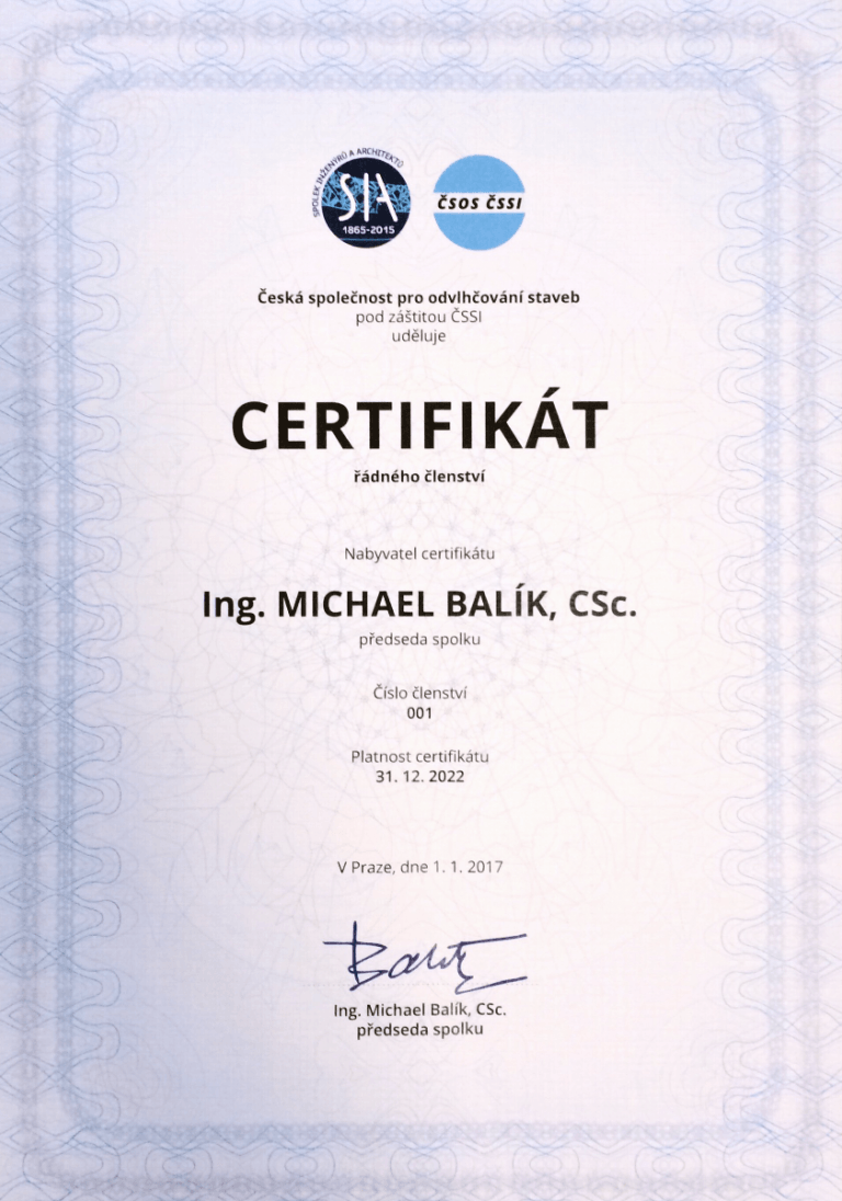 certifikát ateliér Michaela Balíka